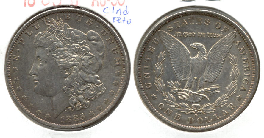 1885-O Morgan Silver Dollar AU-50 c Cleaned Retoned