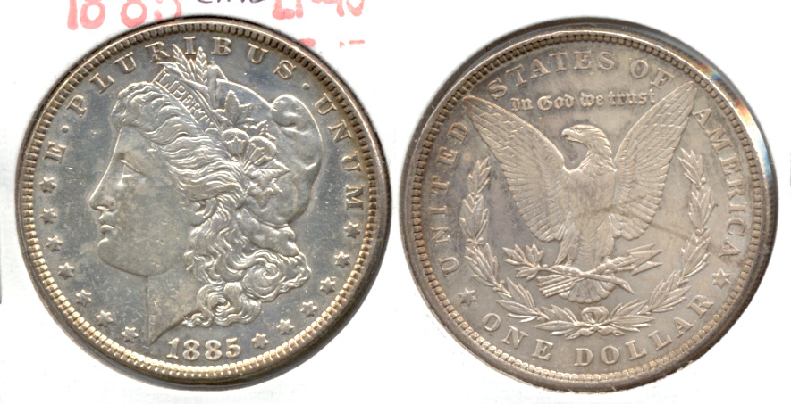 1885 Morgan Silver Dollar EF-40 j Cleaned