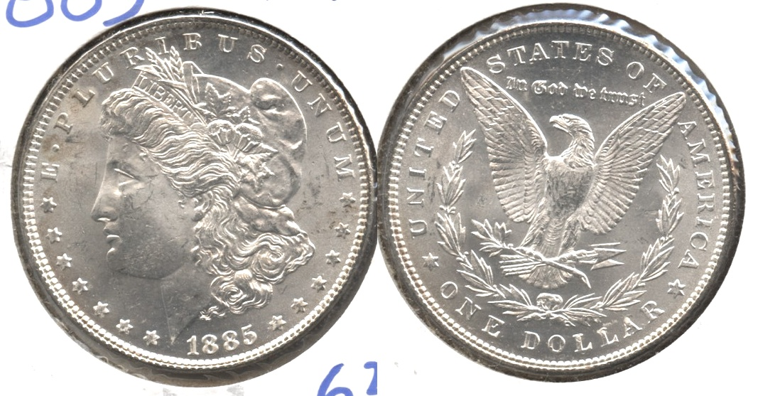 1885 Morgan Silver Dollar MS-63 #e
