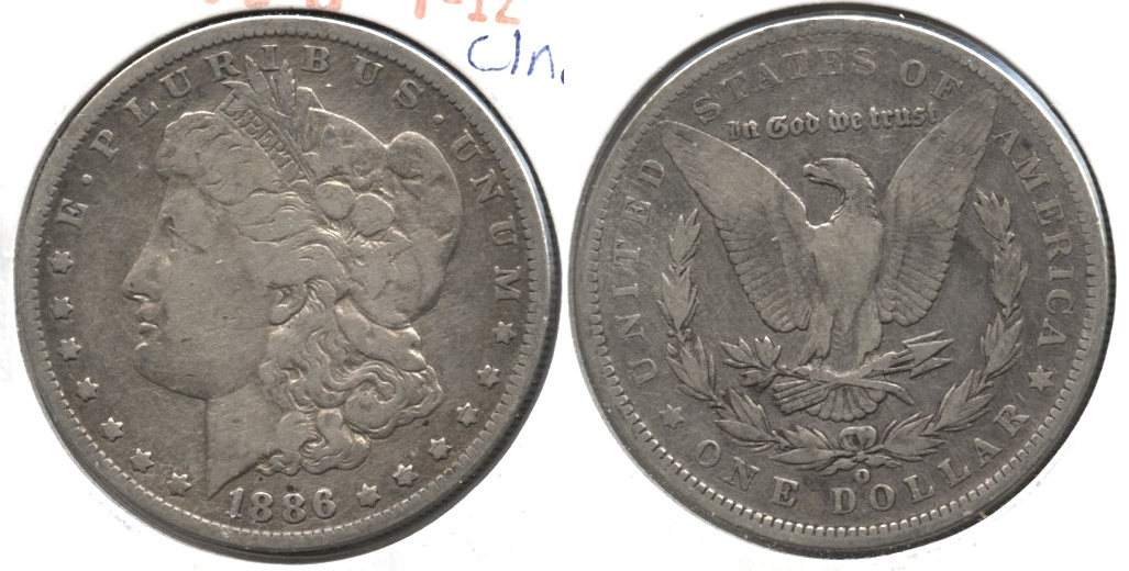 1886-O Morgan Silver Dollar Fine-12 e Cleaned