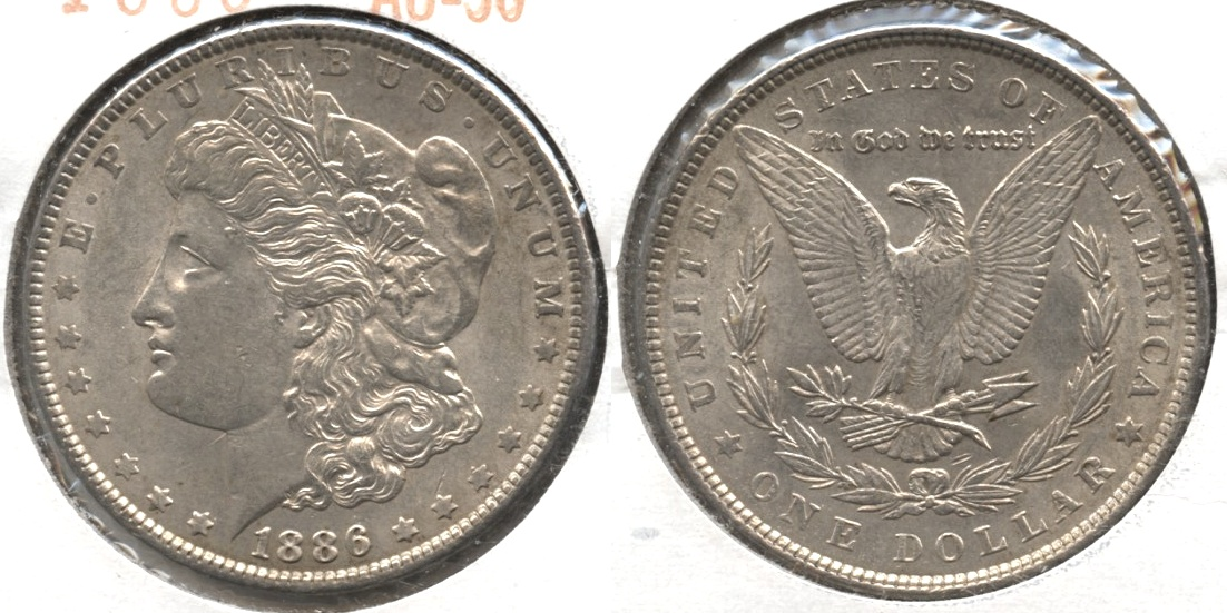 1886 Morgan Silver Dollar AU-50 #ah