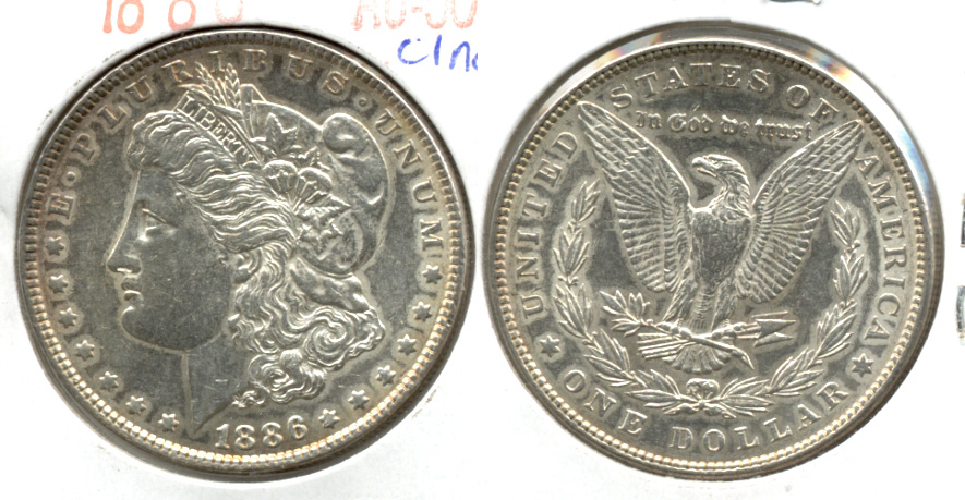 1886 Morgan Silver Dollar AU-50 b Cleaned