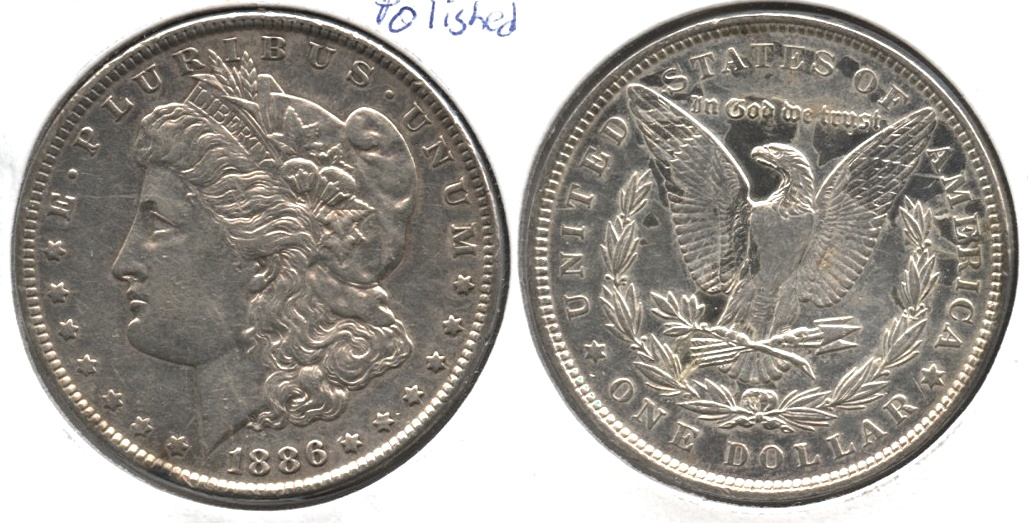 1886 Morgan Silver Dollar EF-40 #s Polished