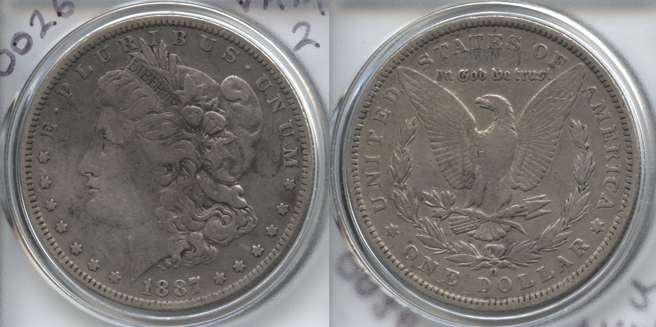 1887-O Morgan Silver Dollar VF-20 #c VAM-2 Doubled Date Top-100