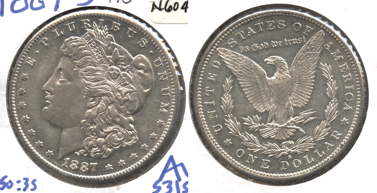 1887-S Morgan Silver Dollar AU-50 #d