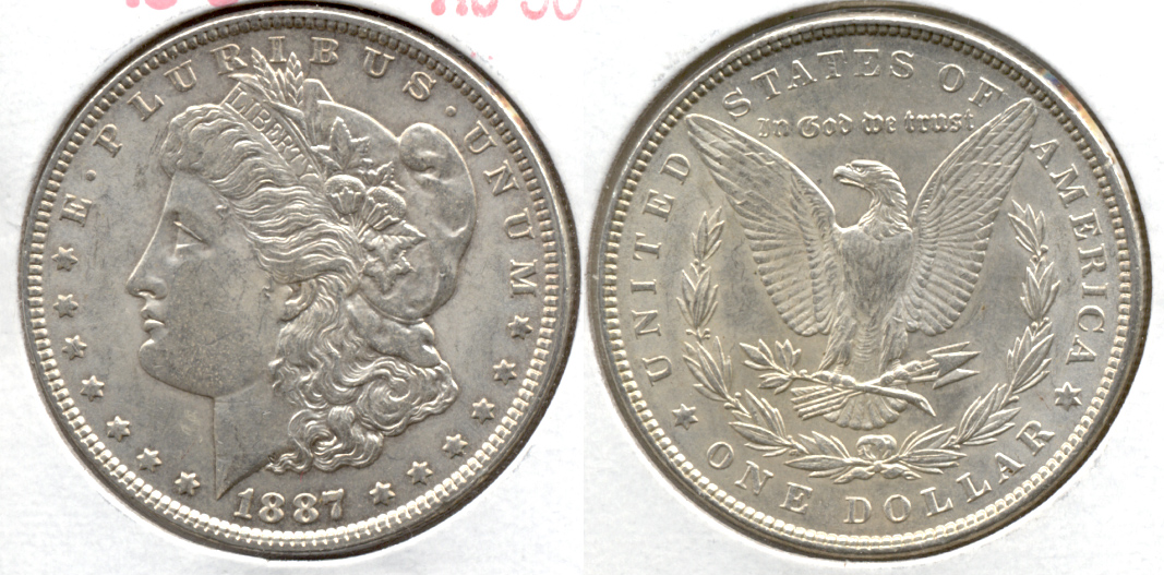 1887 Morgan Silver Dollar AU-50 k