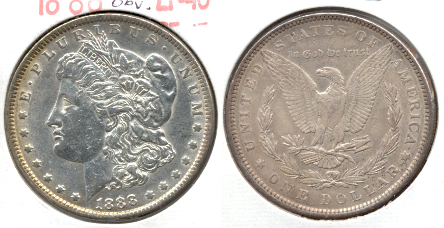 1888 Morgan Silver Dollar EF-40 c Cleaned Obverse