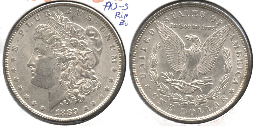 1889 Morgan Silver Dollar AU-50 #ae Rim Bump