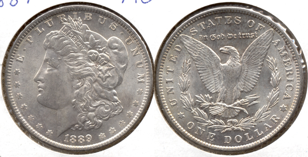1889 Morgan Silver Dollar AU-50 v