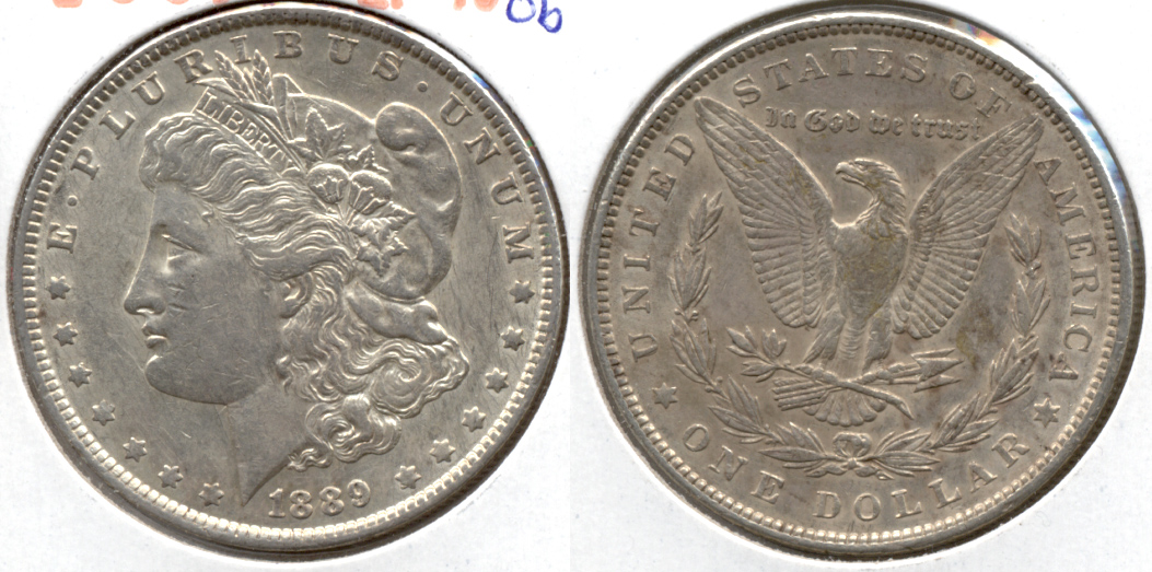 1889 Morgan Silver Dollar EF-40 at Cleaned Obverse