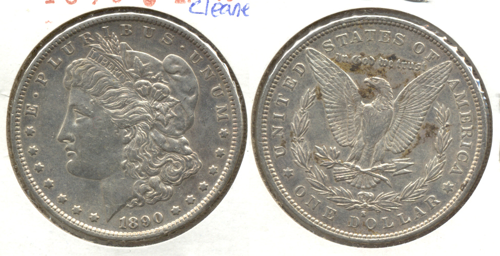 1890-S Morgan Silver Dollar EF-40 j Cleaned