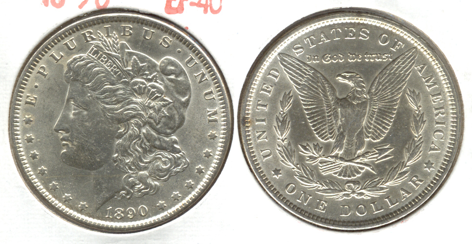 1890 Morgan Silver Dollar AU-50 c Cleaned