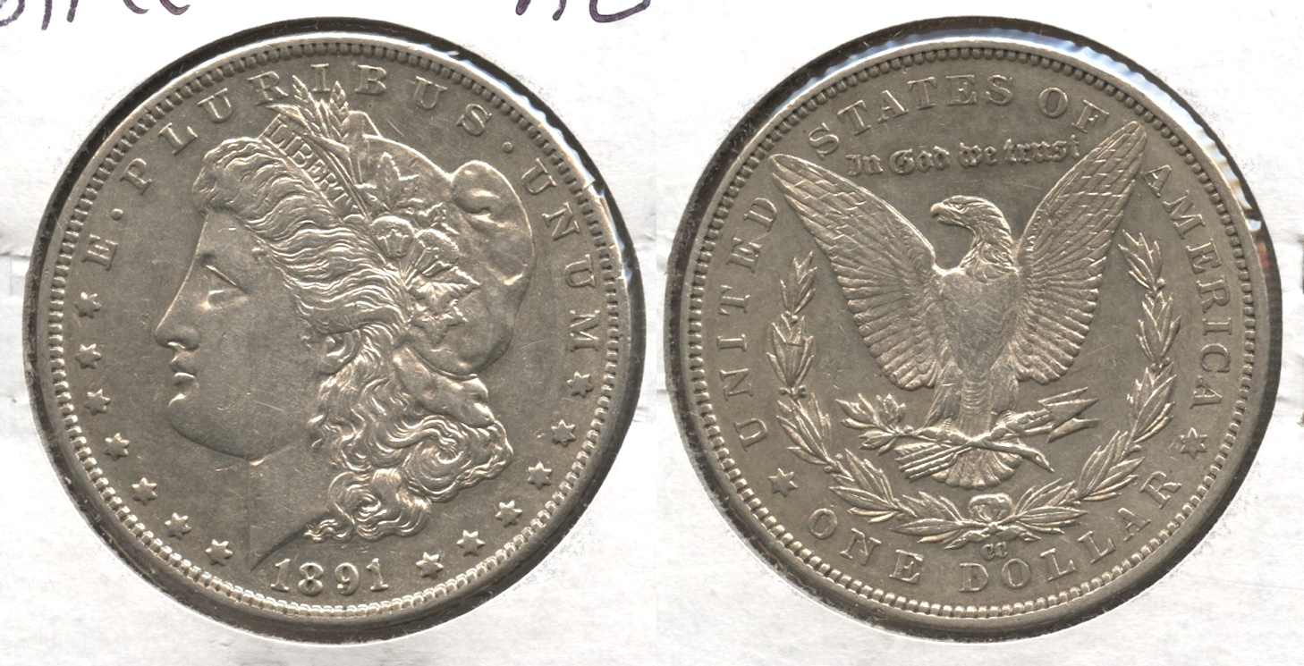 1891-CC Morgan Silver Dollar AU-50
