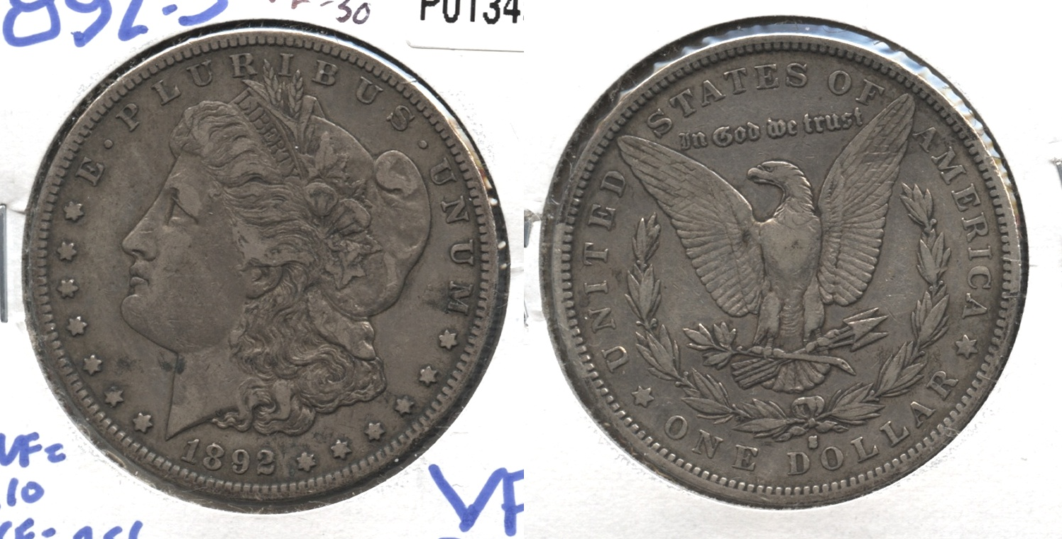 1892-S Morgan Silver Dollar VF-30 #a