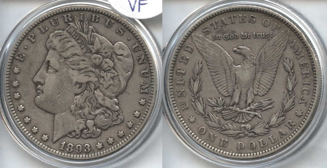 1893 Morgan Silver Dollar VF-20 VAM-4 Doubled Stars Doubled Die Reverse