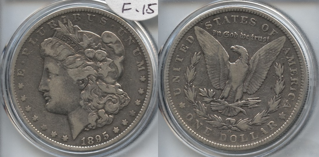 1895-O Morgan Silver Dollar Fine-15 VAM-2 O Tilted Right