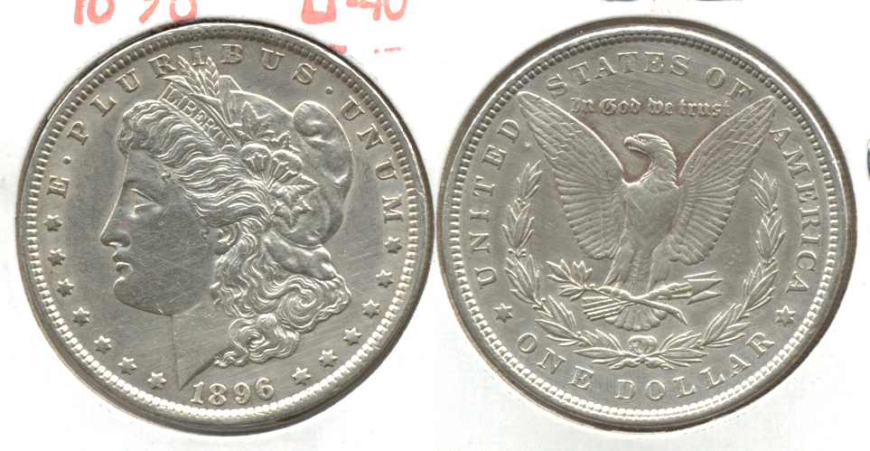 1896 Morgan Silver Dollar EF-45 j Cleaned