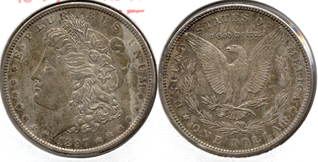 1897 Morgan Silver Dollar AU-50 f