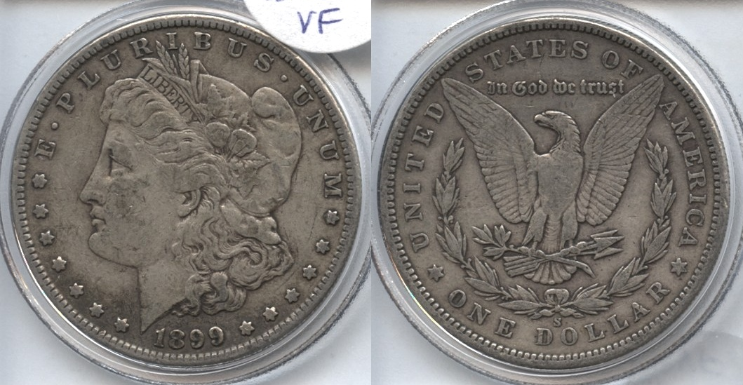 1899-S Morgan Silver Dollar VF-20 VAM-11, Near Date, S Tilted Right