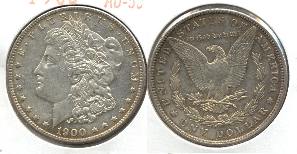 1900 Morgan Silver Dollar AU-50 j