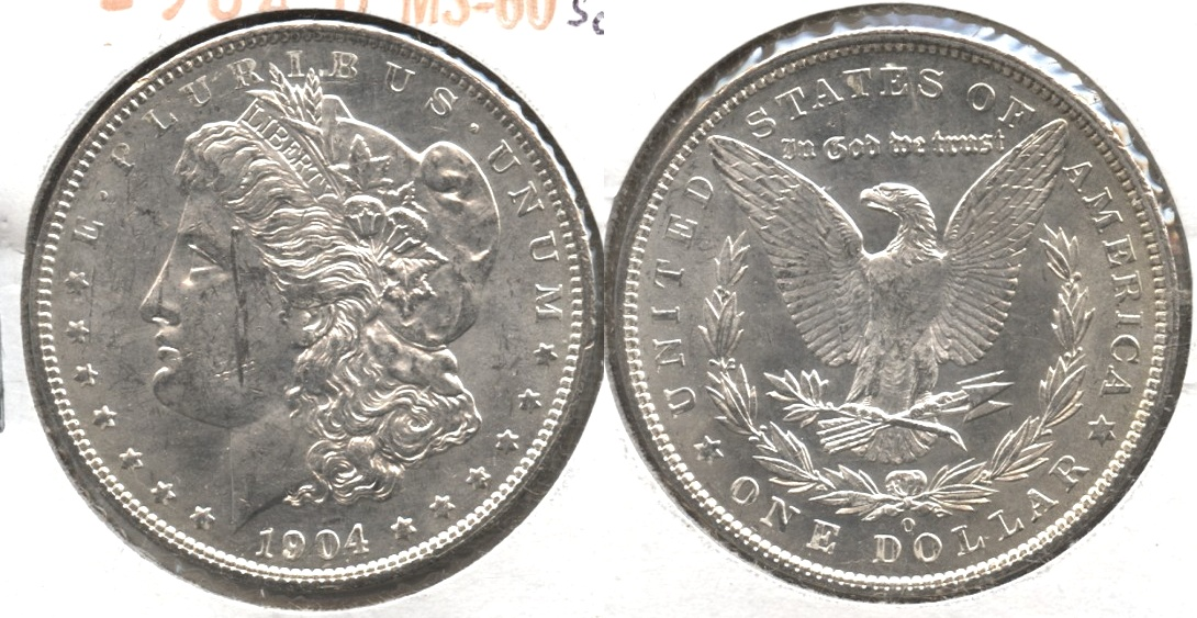 1904-O Morgan Silver Dollar MS-60 Obverse Scratch