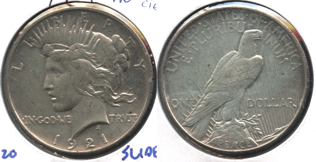 1921 Peace Silver Dollar AU-50 #b Light Cleaning