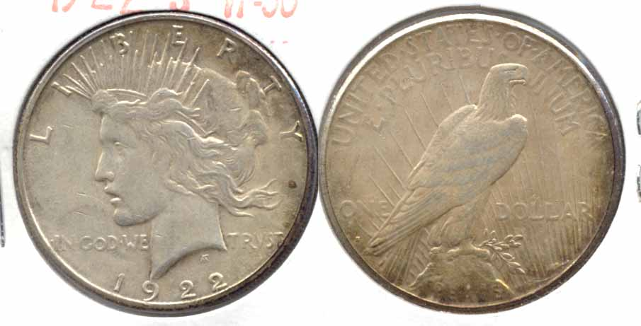 1922-S Peace Silver Dollar VF-30