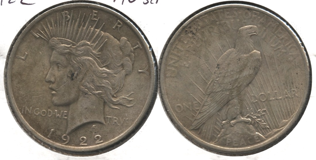 1922 Peace Silver Dollar AU-50 #k Scratch