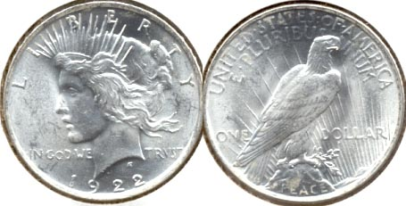 1922 Peace Silver Dollar MS-60 g