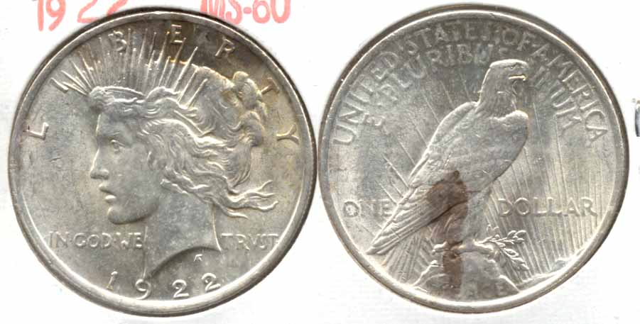 1922 Peace Silver Dollar MS-60 t