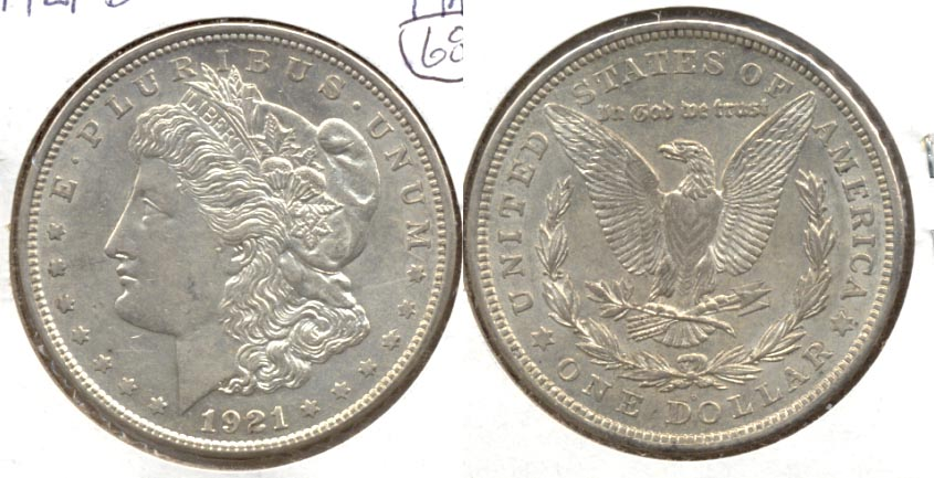 1921-D Morgan Silver Dollar AU-50 b