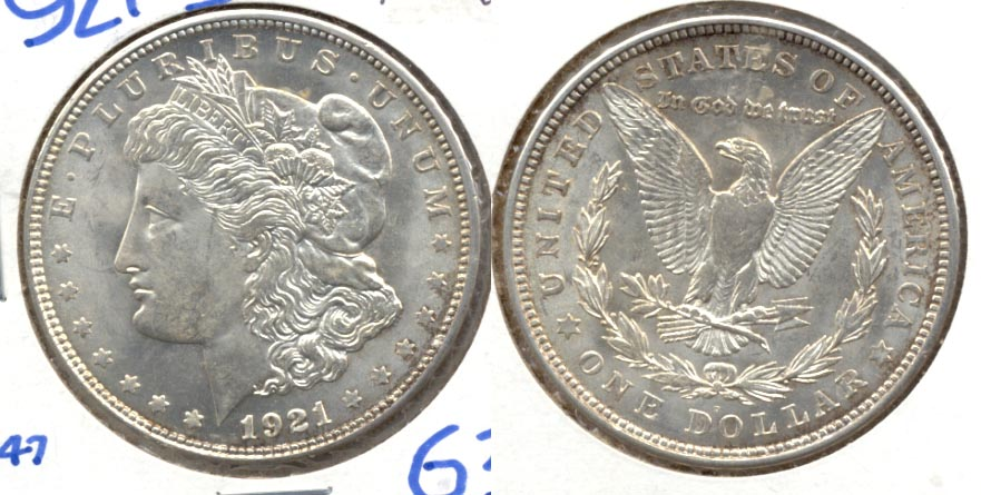 1921-D Morgan Silver Dollar MS-63