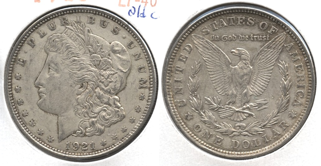 1921 Morgan Silver Dollar EF-40 #ae Old Cleaning
