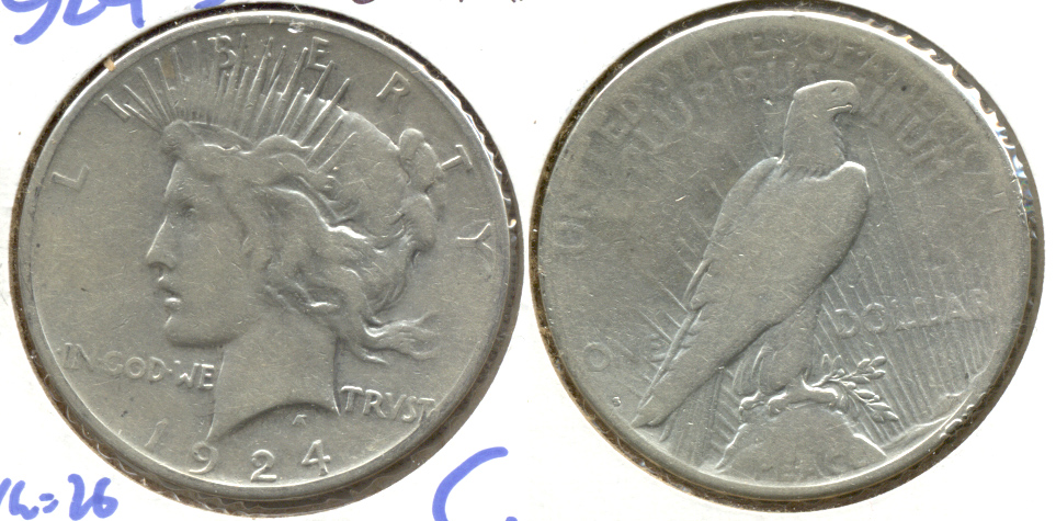 1924-S Peace Silver Dollar Good-4 a Cleaned