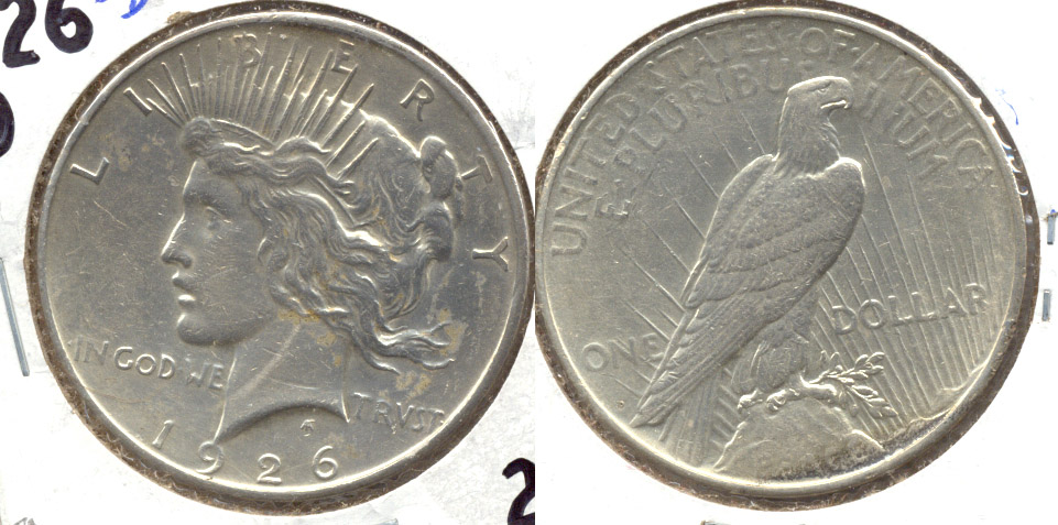1926-D Peace Silver Dollar AU-50 a Lightly Cleaned