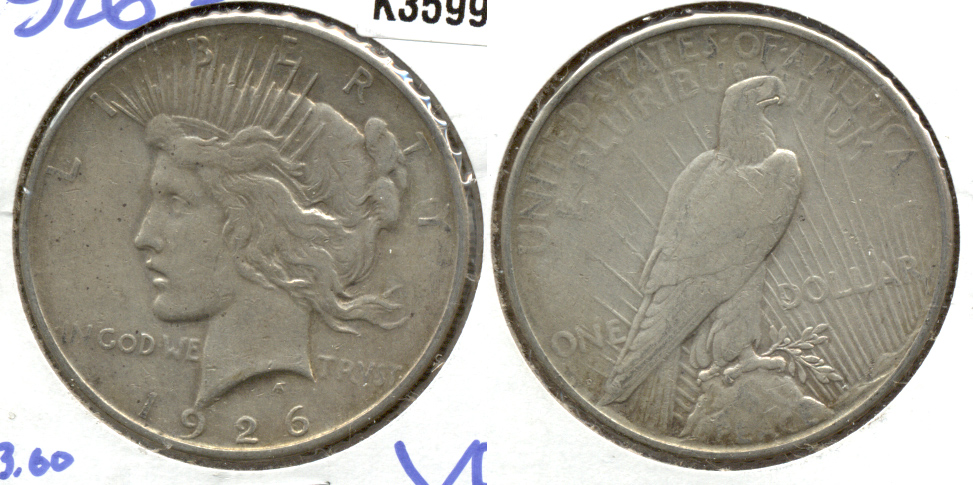1926-D Peace Silver Dollar VF-20 a