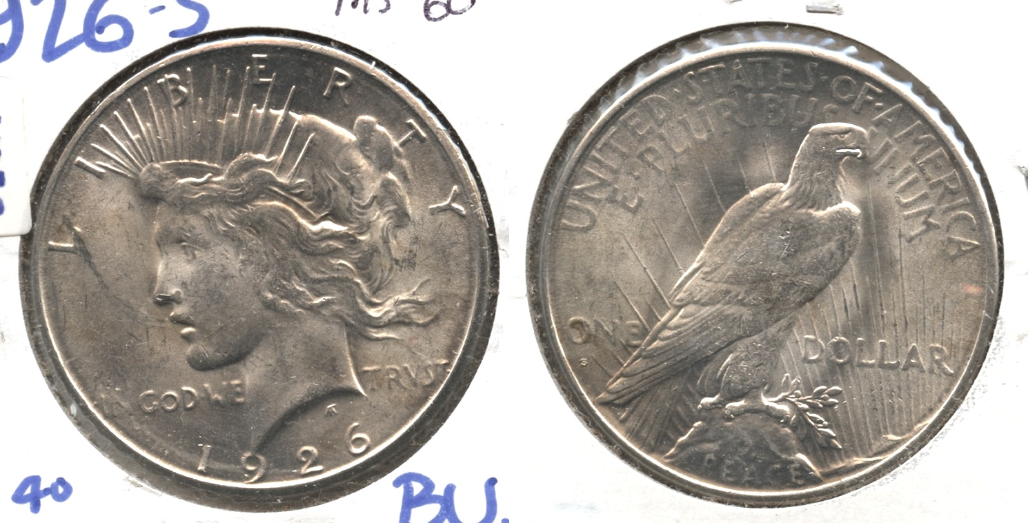 1926-S Peace Silver Dollar MS-60 #g
