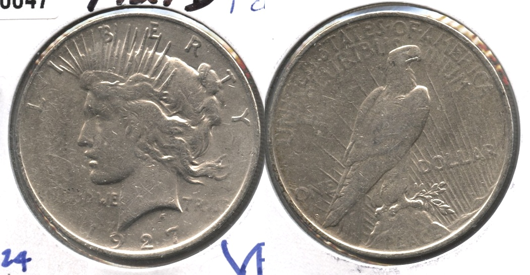 1927-D Peace Silver Dollar Fine-12 #d Cleaned