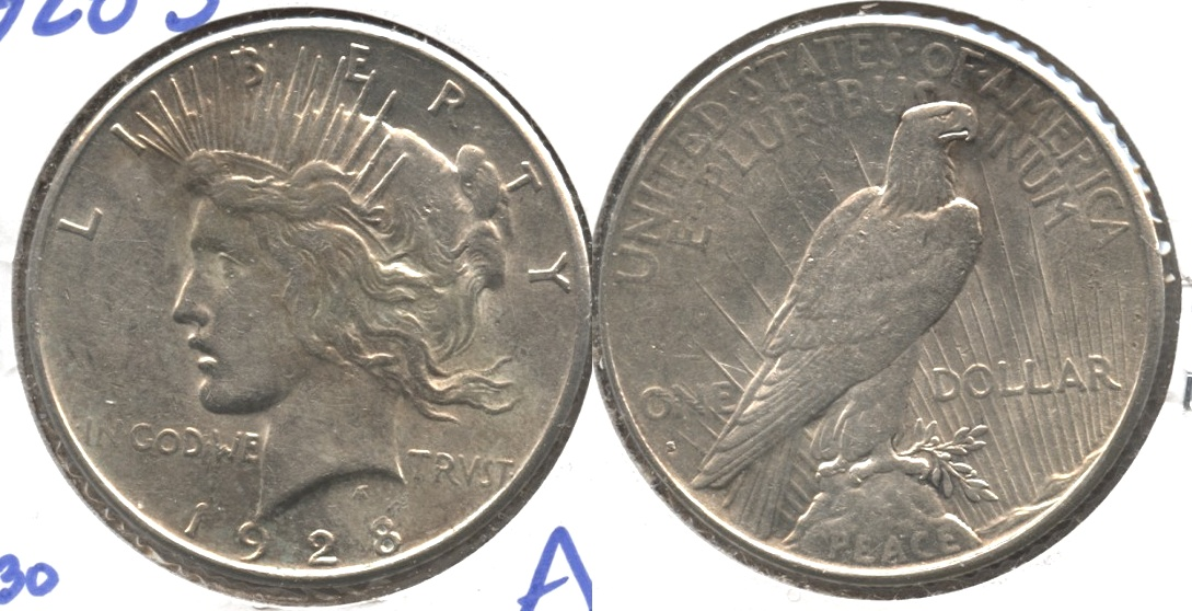 1928-S Peace Silver Dollar AU-50 #b Lightly Cleaned
