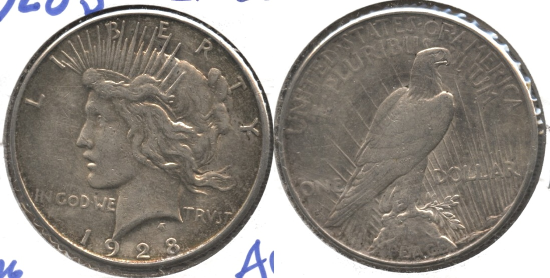 1928-S Peace Silver Dollar EF-40 #a Cleaned
