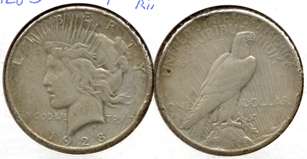 1928-S Peace Silver Dollar F-12 Rough Rim