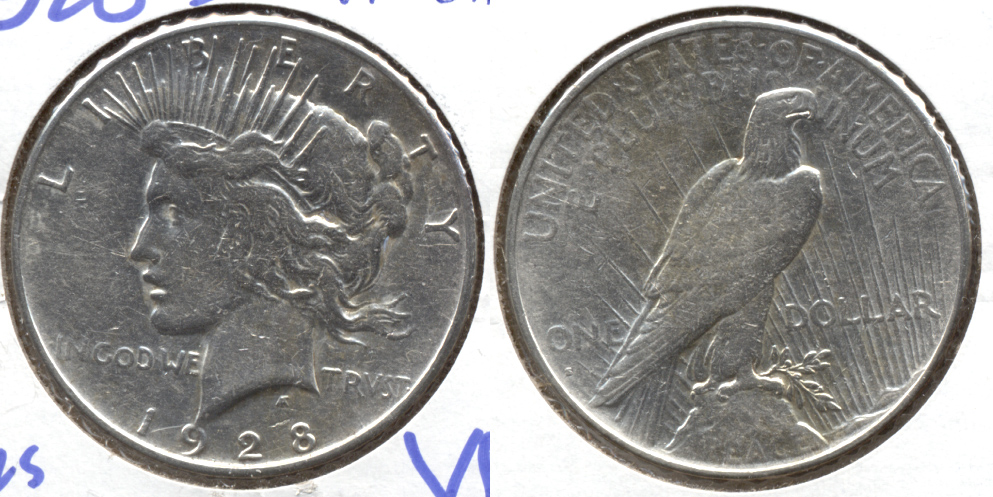 1928-S Peace Silver Dollar VF-20 f Cleaned