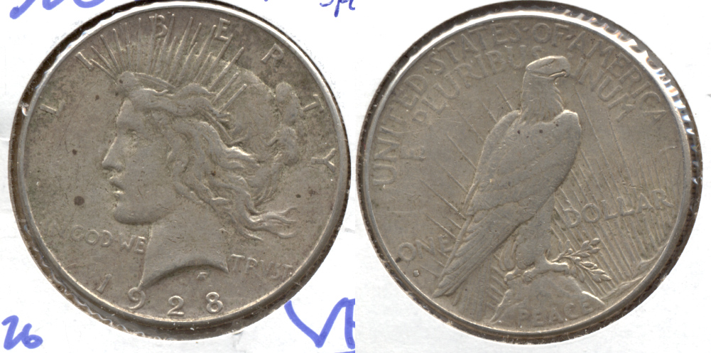 1928-S Peace Silver Dollar VF-20 h Spots