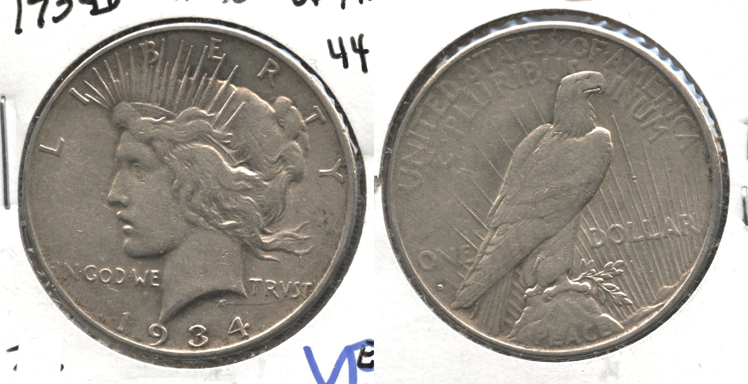 1934-D Peace Silver Dollar VF-30