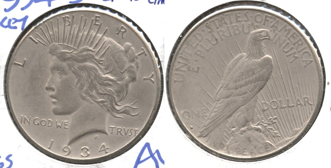 1934-S Peace Silver Dollar EF-45 Cleaned