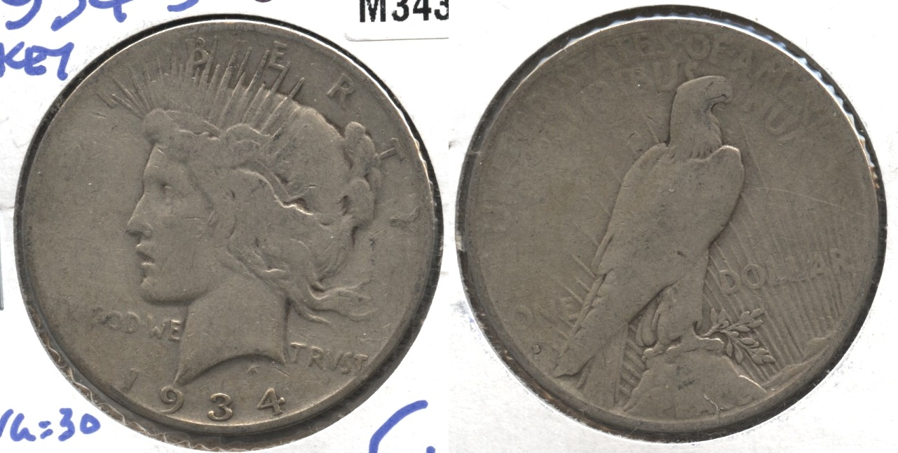 1934-S Peace Silver Dollar Good-4 #f