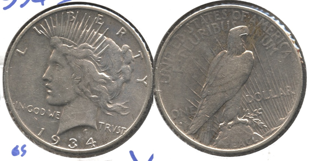 1934-S Peace Silver Dollar VF-20 Old Cleaning #c