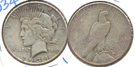 1934 Peace Silver Dollar VF-20 a
