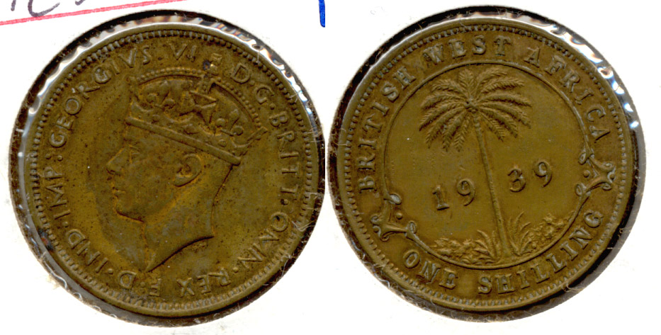 1939 British West Africa 1 Shilling Fine-12