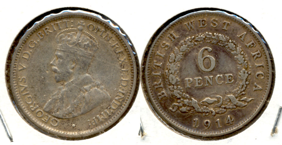 1914 British West Africa 6 Pence VF-20